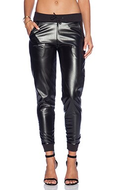 Plush Faux Leather Jogger in Black