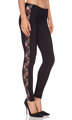Plush Plaid Tuxedo Legging in Black/Red Plaid