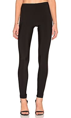 Plush Faux Leather Tuxedo Legging in Black