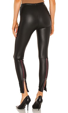 Fleece Lined Liquid Legging With Contrast Zipper