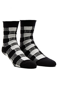 Thin Rolled Fleece Sock in Black & White
