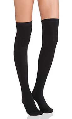 Thigh High Fleece Lined Leggings in Black