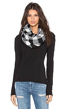 Plush Plaid Infinity Scarf in Black & White
