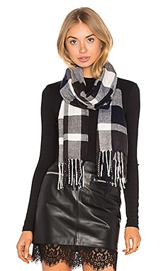 Ultra Soft Fleece Plaid Scarf in Navy, Charcoal & White