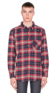 Poler Long Sleeve Button Up in Navy Plaid