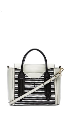 Mini Satchel in Black & White Weave