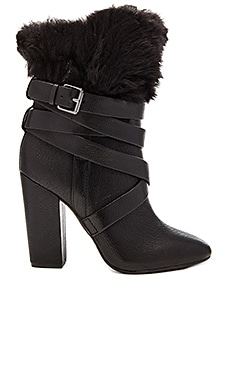 Pour La Victoire Bionda Bootie with Faux Fur Cuff in Black