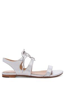 Pour La Victoire Lacey Sandal in Silver Leather
