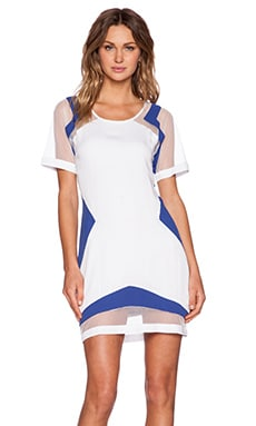 Premonition Poker Face Shift Dress in White & Royal