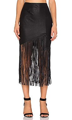 Premonition Lucia Fringe Skirt in Black