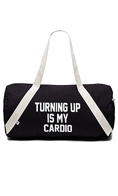 Private Party Turning Up Is My Cardio Gym Bag in Black