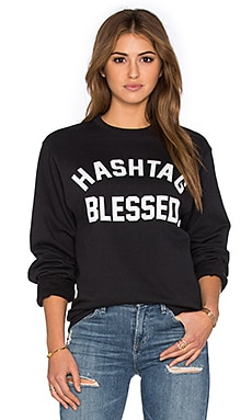 Private Party Hashtag Blessed Sweatshirt in Black