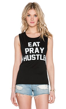 Private Party Eat Pray Hustle Tank in Black