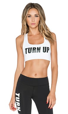Private Party Turn Up Sports Bra in White