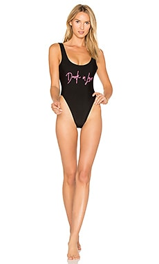 Drunk in Love One Piece Swimsuit in Black