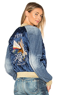 Embroidered Bomber Jacket in Indigo