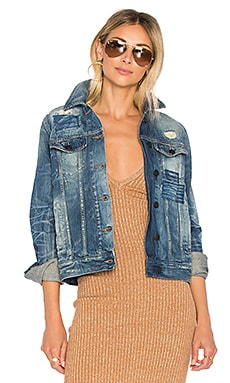 Distressed Denim Jacket in Indigo
