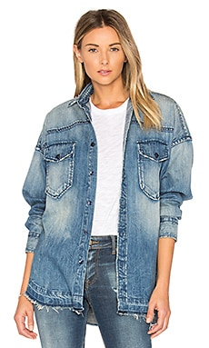 Oversized Denim Button Up Shirt en Bleu