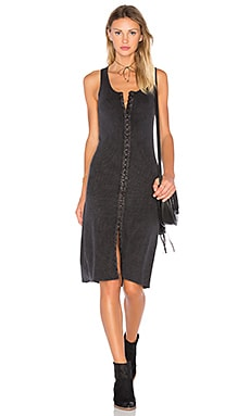 Project Social T Ella Hook & Eye Rib Dress in Medium Wash Black