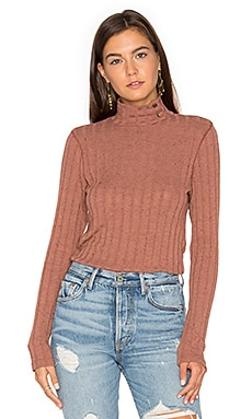 Bardot Button Neck Sweater in Brick