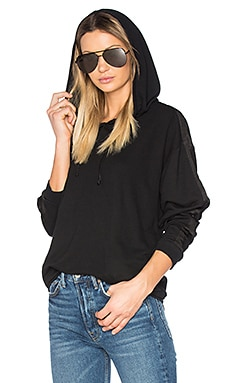 Moto Satin Trim Hoodie in Black