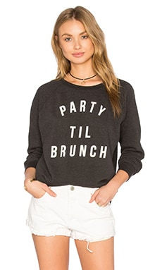 Project Social T Party Til Brunch Sweatshirt in Distressed Black