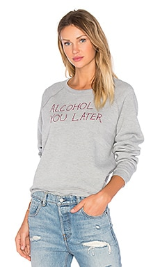 Project Social T Alcohol U Later Embroidered Sweatshirt in Heather Grey