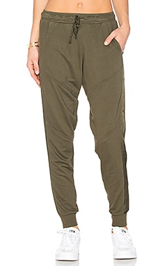 Moto Satin Trim Jogger in Army