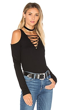 Falling For You Lace Up Top in Black