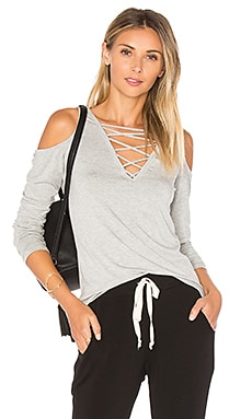 Falling For You Lace Up Top in Heather Grey