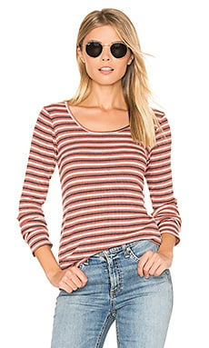 Piccadilly Striped Tee in Spice Mineral Wash