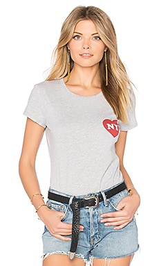 NY Heart Bud Bodysuit in Heather Grey