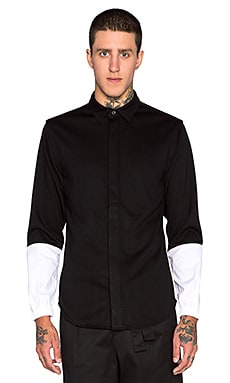Public School Elasticated Cuff Shirt in Black & White