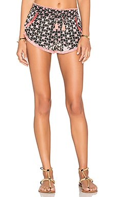 Poupette St Barth Lulu Fringe Short in Black Pink