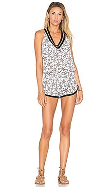 Poupette St Barth Beline Pineapple Print Romper in Black Pineapple