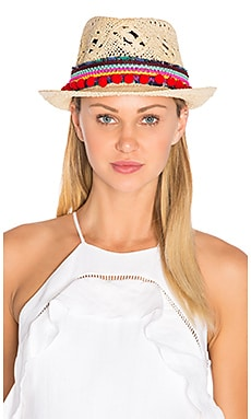 Poupette St Barth Chacha Hat in Cream & Red
