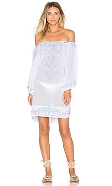Poupette St Barth Abel Embroidered Off The shoulder Dress in White & Light Blue Navy
