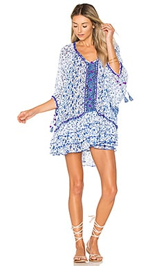 Bobo Poncho Dress in White Blue