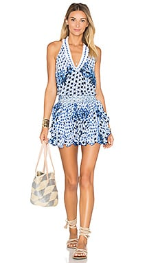 Poupette St Barth Beline V Neck Tank Dress in Blue & White
