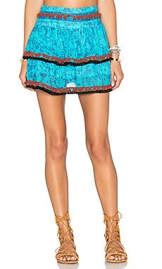 Poupette St Barth Chacha Ruffle Fringe Skirt in Scuba Blue
