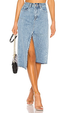 Kaia Denim Midi Skirt PISTOLA $62