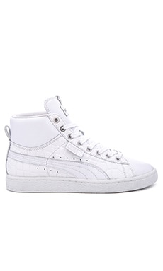 Select BASKET MID Exotic Hi-Top – 白色、银色箔