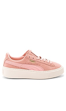 Suede Core Platform in Coral Cloud Whisper White
