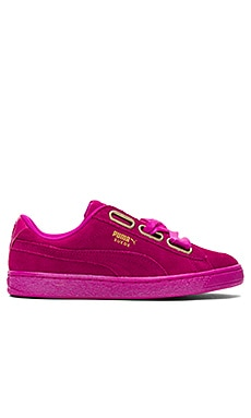 Suede Heart Satin Sneaker in Ultra Magenta