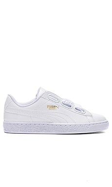 Basket Heart Patent Sneaker in Puma White