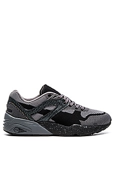 Puma Select R698 Knit Mesh Splatter in Black Steel Grey