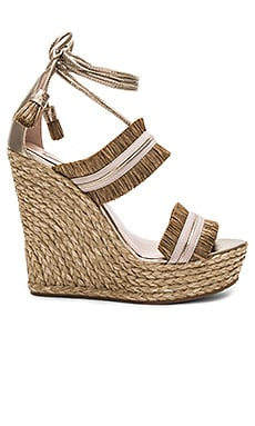 Ankle Tie Wedge in Raffia Taupe