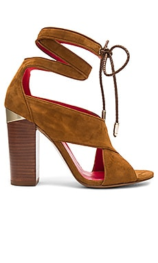 Ankle Wrap Heel in Chestnut Suede