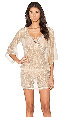 Queen & Pawn Ibiza Metallic Lace Tunic Cover Up in Gold