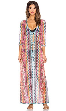 Queen & Pawn Cuba Lace Tie Front Kaftan in Pink & Blue Multi